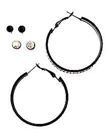 Multi-Pack CZ Stud and Hoop Earrings - 3 Pair
