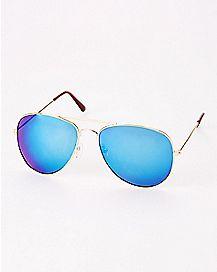 Goldplated Mirrored Aviator Sunglasses