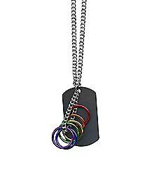 Rainbow Dog Tag Necklace