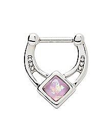 Opal-Effect Purple Septum Ring - 16 Gauge