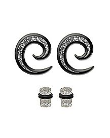 Multi-Pack Glitter Spiral Ear Tapers and Plugs - 2 Pair