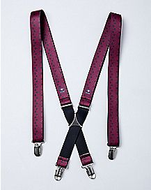 Purple and Black Polka Dot Suspenders