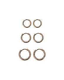 Multi-Pack Rose Goldplated Hinge Captive Rings - 3 Pair