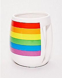 Inverted Handle Rainbow Pride Coffee Mug - 20 oz.