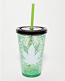 Pot Leaf Freezer Gel Cup With Straw - 16 oz.