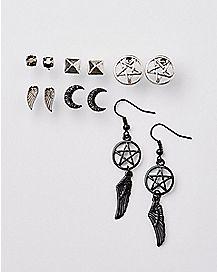 Multi-Pack Pentagram Stud and Dangle Earrings - 6 Pair