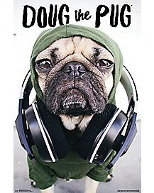Headphones Doug the Pug Poster