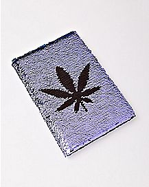 Magic Sequin Pot Leaf Notebook