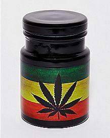 Rasta Weed Leaf Storage Jar - 6 oz.