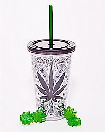 Weed Leaf Cup With Straw and Ice Cubes - 16 oz.
