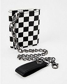 Black and White Checkered Chain Wallet