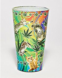 Pot Leaf Cat Pint Glass - 16 oz.