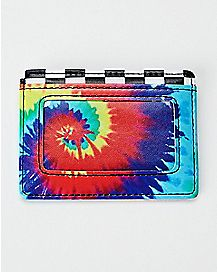 Checkered Rainbow Tie Dye ID Wallet