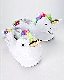 3D Unicorn Slippers With Rainbow Mane