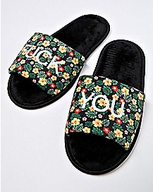 Floral Fuck You Spa Slippers