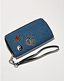 Patches Denim Zip Around Wallet