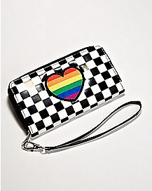 Rainbow Heart Checker Wallet