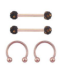 Rose Goldplated Barbell Nipple Rings 4 Pack- 14 Gauge