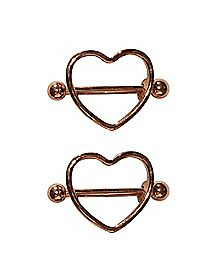 Rose Goldplated Heart Nipple Shields 1 Pair - 14 Gauge