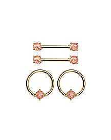 Multi-Pack Goldplated Opal-Effect Nipple Barbells and Captive Nipple Rings 2 Pair - 14 Gauge
