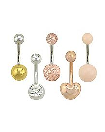Multi-Pack Heart CZ Belly Rings 5 Pack - 14 Gauge
