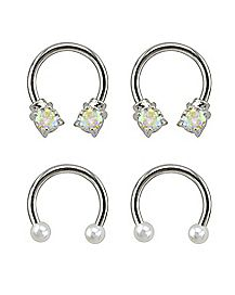 Multi-Pack Pearlized and CZ Horseshoe Rings 2 Pair - 16 Gauge