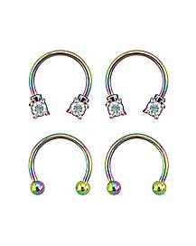 Multi-Pack CZ Rainbow Horseshoe Rings 2 Pair - 16 Gauge