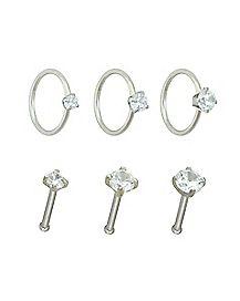 Multi-Pack CZ Bone Nose Rings and Hoop Nose Rings 6 Pack - 20 Gauge