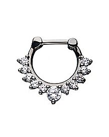 Hematite Plated CZ Clicker Septum Ring - 16 Gauge