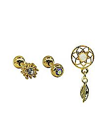 Goldtone Cartilage Earrings 3 Pack - 16 Gauge