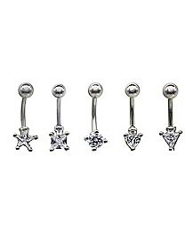 Multi-Shaped CZ Eyebrow Rings 5 Pack - 16 Gauge