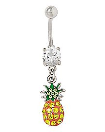 CZ Pineapple Dangle Belly Ring - 14 Gauge