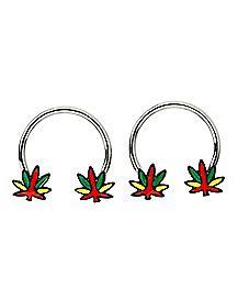 Weed Leaf Horseshoe Rings 1 Pair - 16 Gauge