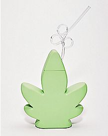 Glow in the Dark Weed Leaf Cup With Straw - 24 oz.