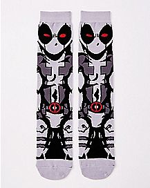 Gray Deadpool Crew Socks