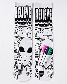 DIY Color Alien Crew Socks