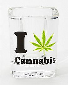 Square I Weed Leaf Cannabis Shot Glass - 2 oz.