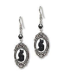 Cat Cameo Dangle Earrings