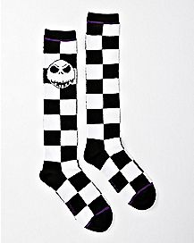 Checkered Jack Skellington Knee High Socks - The Nightmare Before Christmas