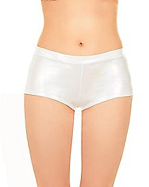 Iridescent Boyshort Panties - White