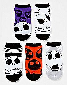 The Nightmare Before Christmas No Show Socks - 5 Pair