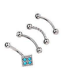Multi-Pack Turquoise-Effect Curved Barbells 4 Pack - 16 Gauge