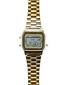 Goldtone LCD Watch