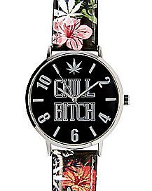Floral Chill Bitch Analog Watch