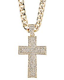 Goldplated CZ Cross Necklace