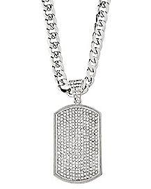 CZ Dog Tag Necklace