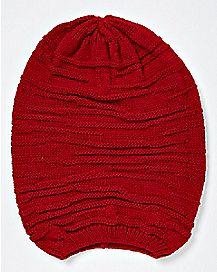 Red Rib Hem Slouchy Beanie Hat