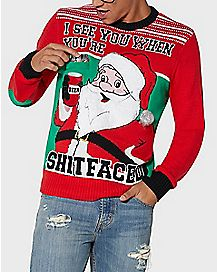 Shitfaced Santa With Drink Holder Ugly Christmas Sweater