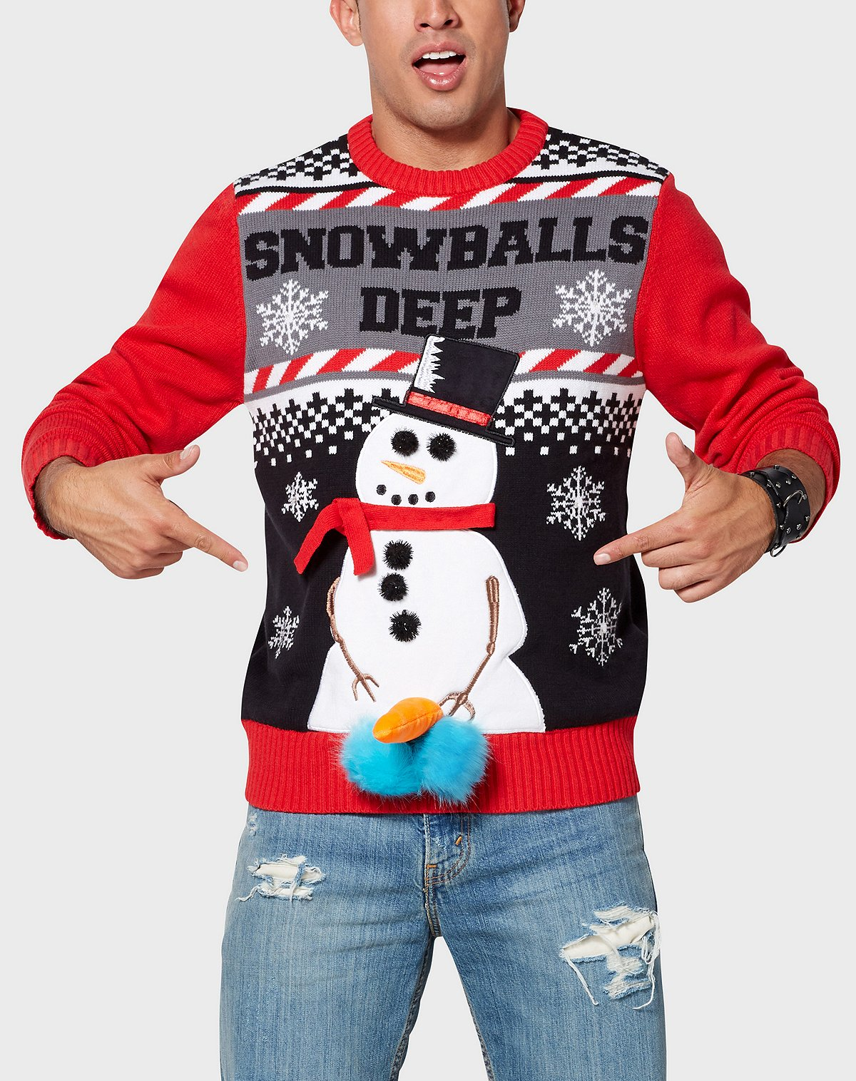 Spencer's Snowballs Deep Ugly Christmas Sweater
