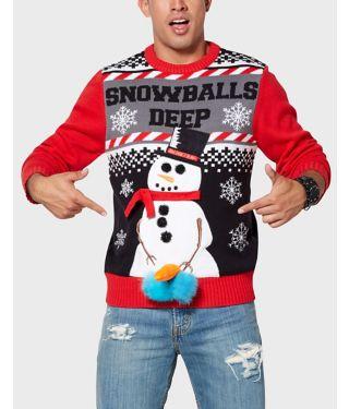 Snowballs Deep Ugly Christmas Sweater